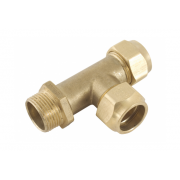 Spartan Boiler Tee With Nuts 20mm Brass DR - TB20