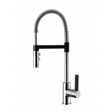 Gaston Spring Pull Down Twin Function Sink Mixer (Black & Chrome)